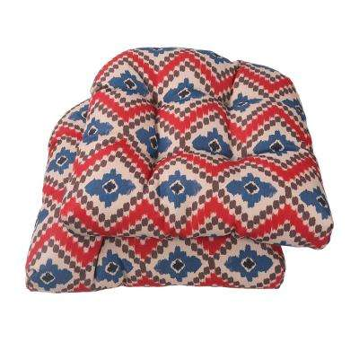 Red Ikat Square Tufted Outdoor Seat Cushion (2-Pack)
