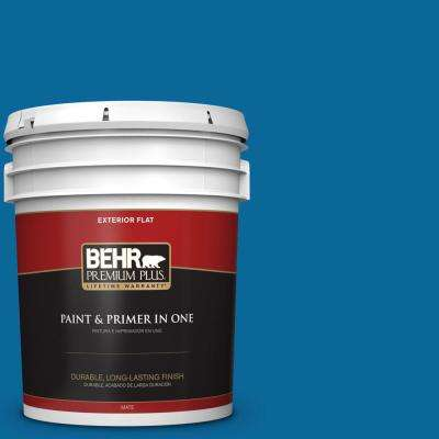 5 gal. #MQ4-58 Mondrian Blue Flat Exterior Paint and Primer in One