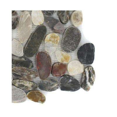 Pebble Rock Flat Crue 3 in. x 6 in. x 8 mm Marble Mosaic Floor and Wall Tile Sample