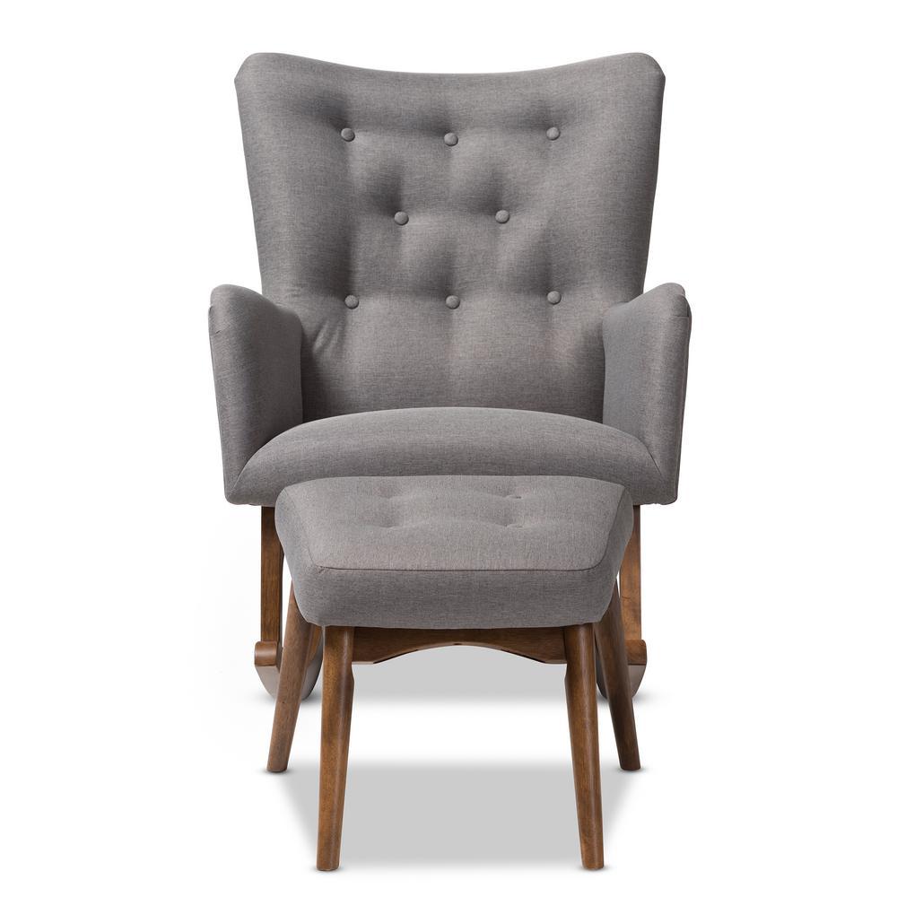 waldmann grey fabric rocking chair and ottoman set - Tufted Wingback Chair