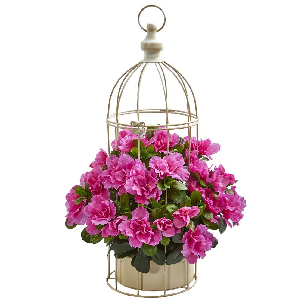 Indoor Azalea Artificial Plant in Decorative Bird Cage
