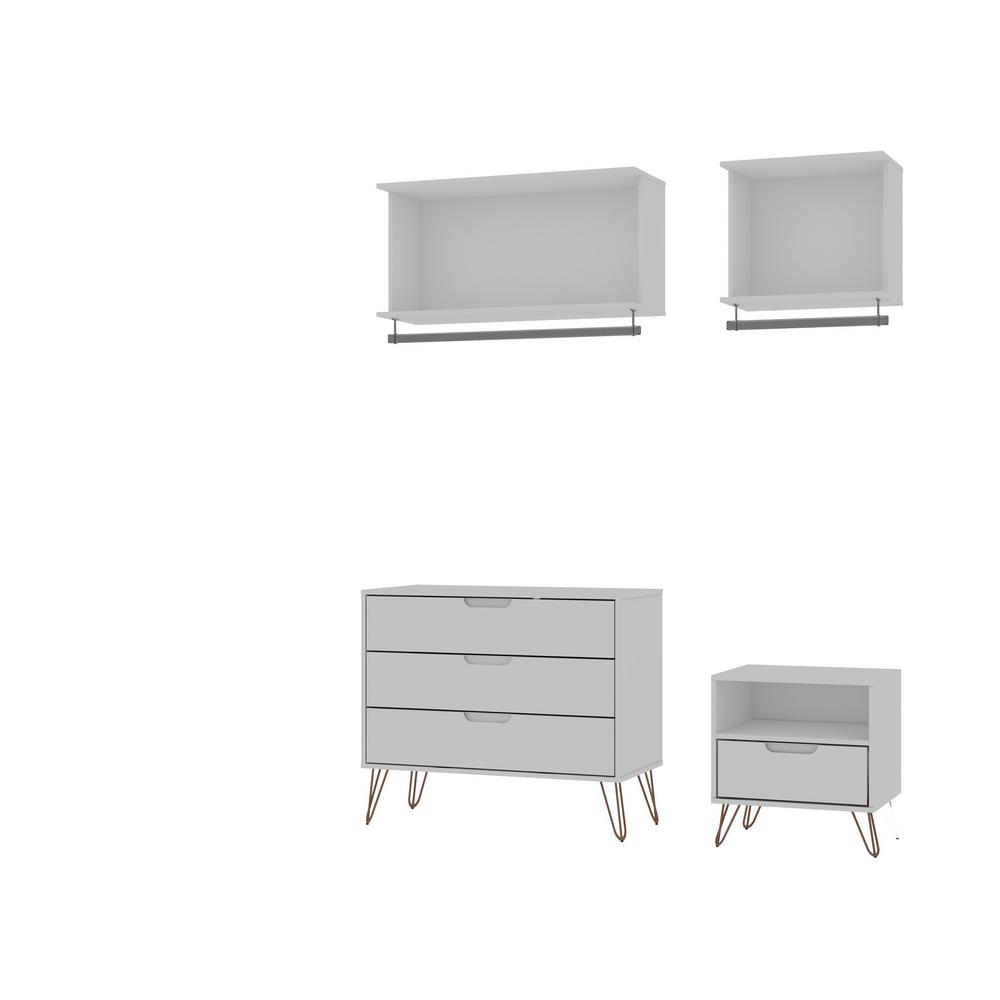 Rockefeller 4-Piece White Full Open Closet Wardrobe Set