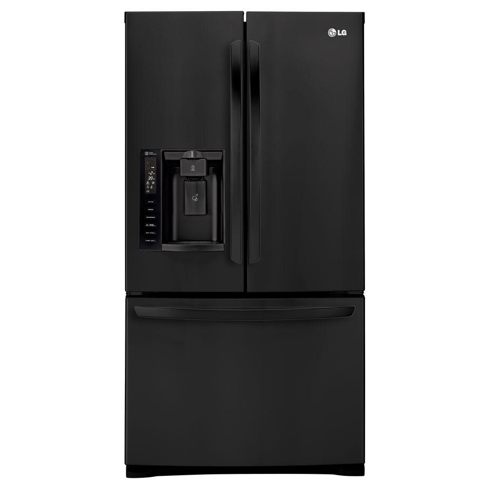 LG Electronics 26.8 cu. ft. 3 Door French Door Refrigerator in Smooth Black