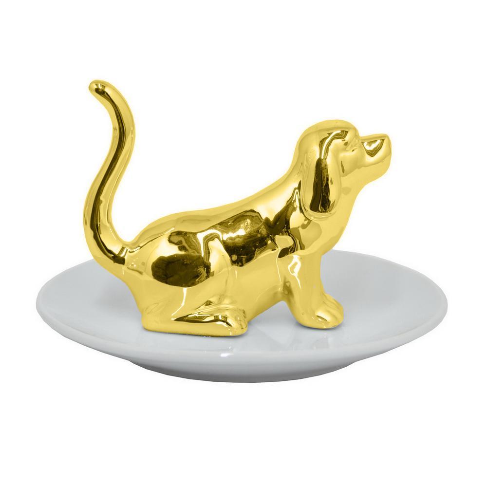 Gold Dog Ring Holder
