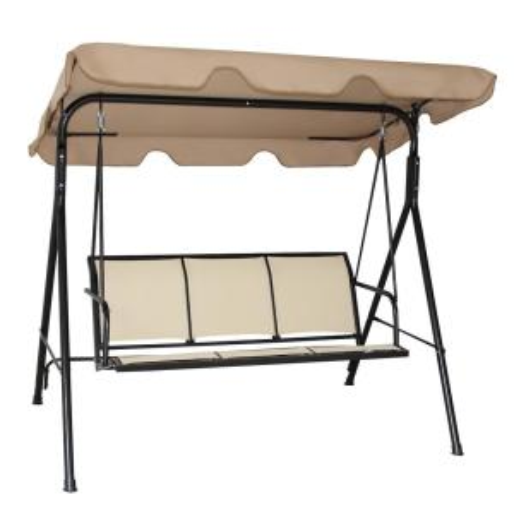 3-Person Brown Metal Outdoor Patio Swing Chair Patio Hammock