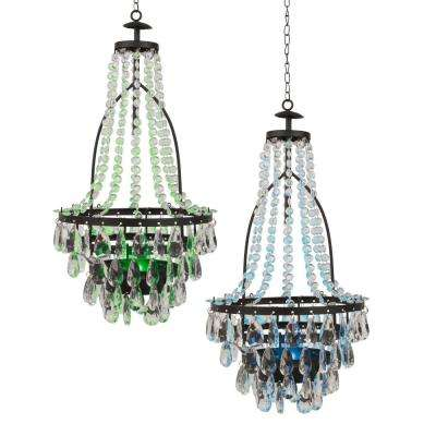 Multi-Color Clear Outdoor Integrated LED Hanging Solar Chandelier with Acrylic Beads (2-Pack)