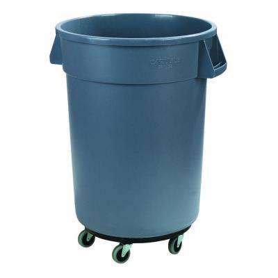 Bronco 32 Gal. Gray Round Trash Can with Dolly (4-Pack)