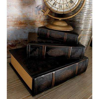 Vintage Rectangular Wood and Synthetic Leather Flourished Book Boxes (Set of 3)