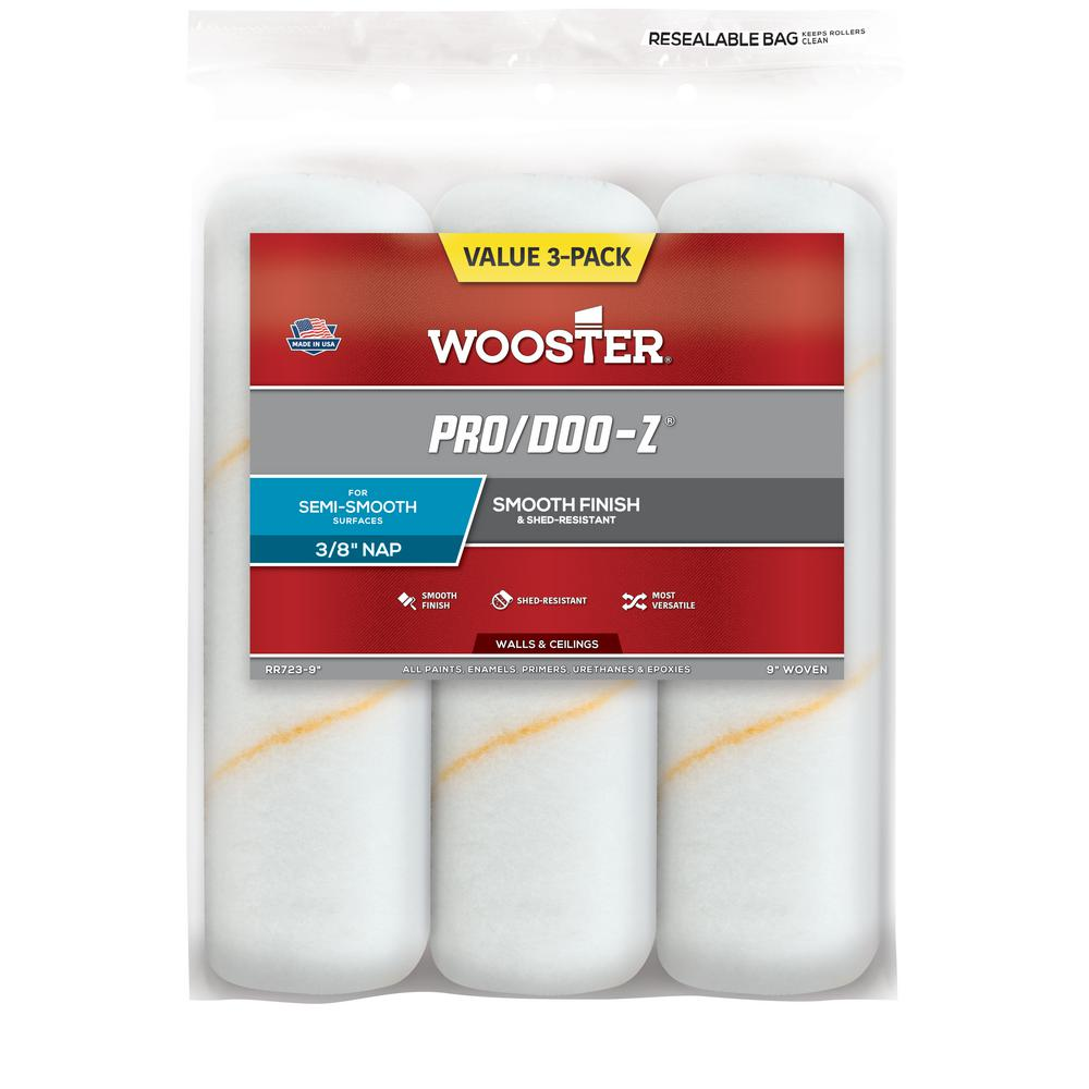 Wooster 9 in. x 3/8 in. Pro/Doo-Z High-Density Woven Roller Cover (3-Pack)