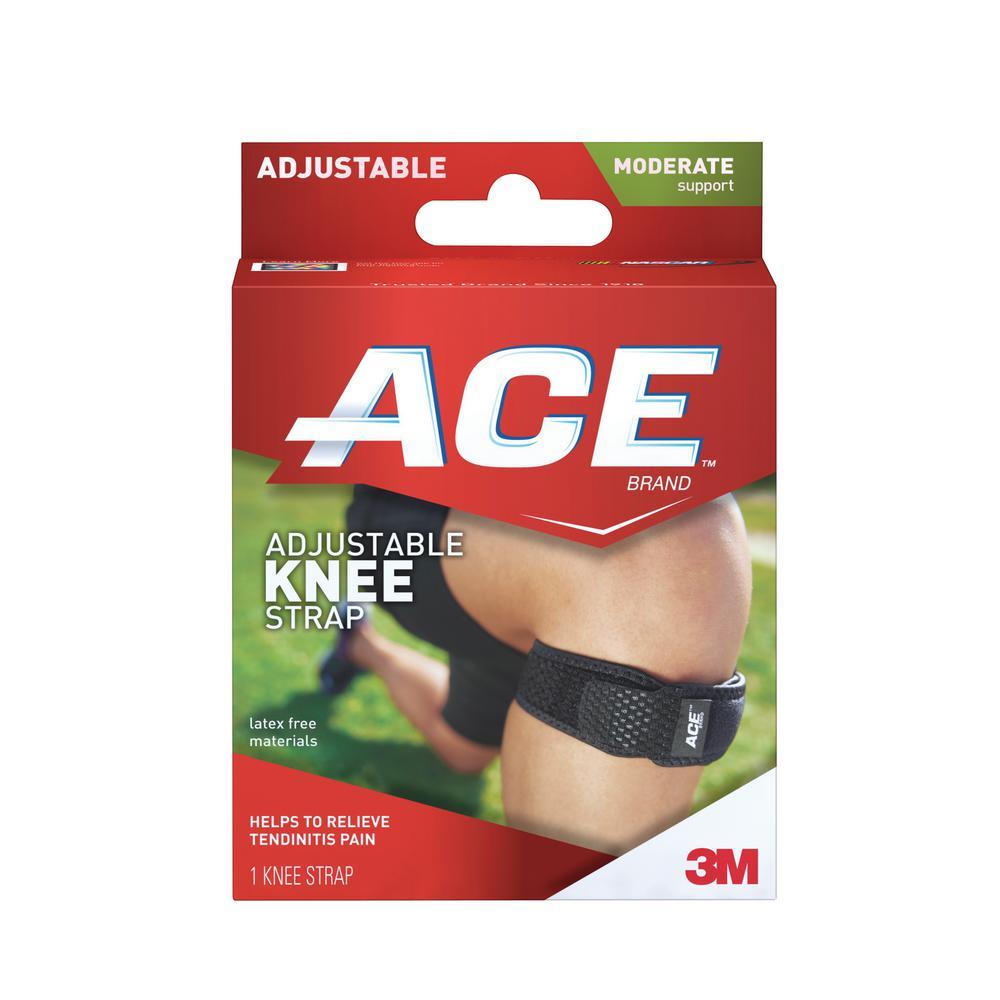 1-Size Adjustable Knee Strap Brace in Black (12-Case)