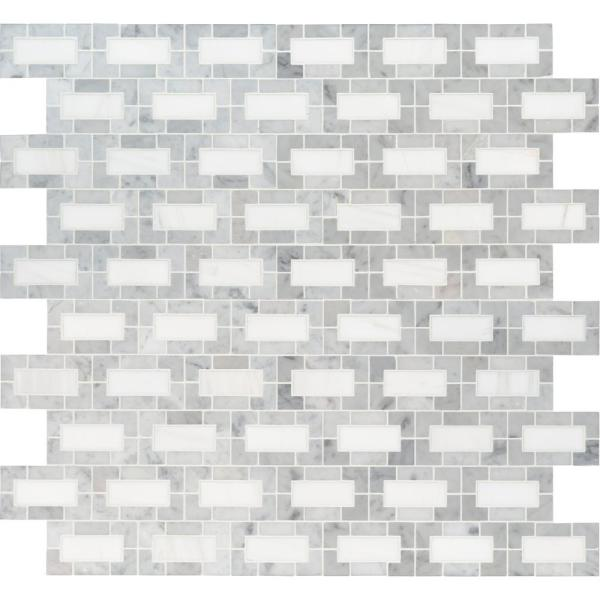 Bianco Dolomite Lynx 12 in. x 12 in. x 10mm Polished Marble Mesh-Mounted Mosaic Tile (10 sq. ft. / case)