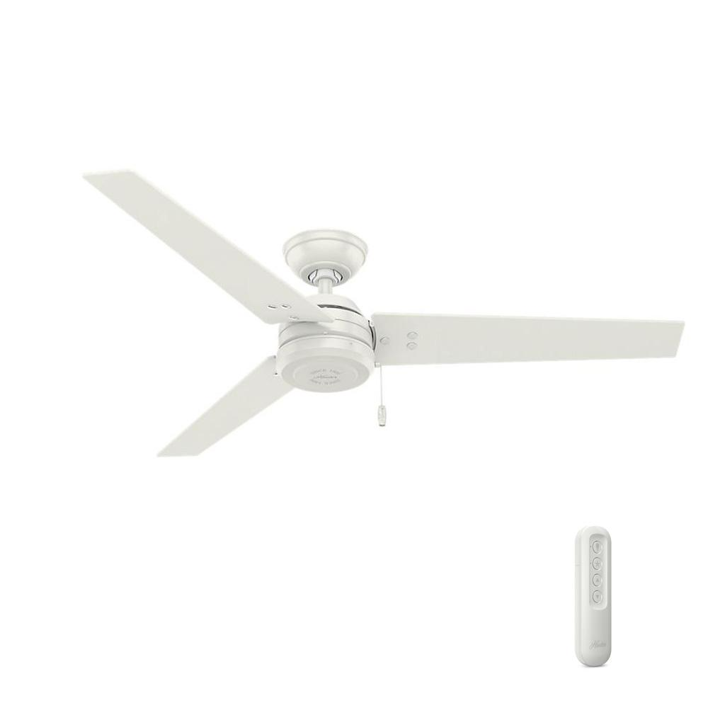 Hunter Cassius 52 in. Indoor/Outdoor Fresh White Ceiling Fan bundled with Handheld Remote Control