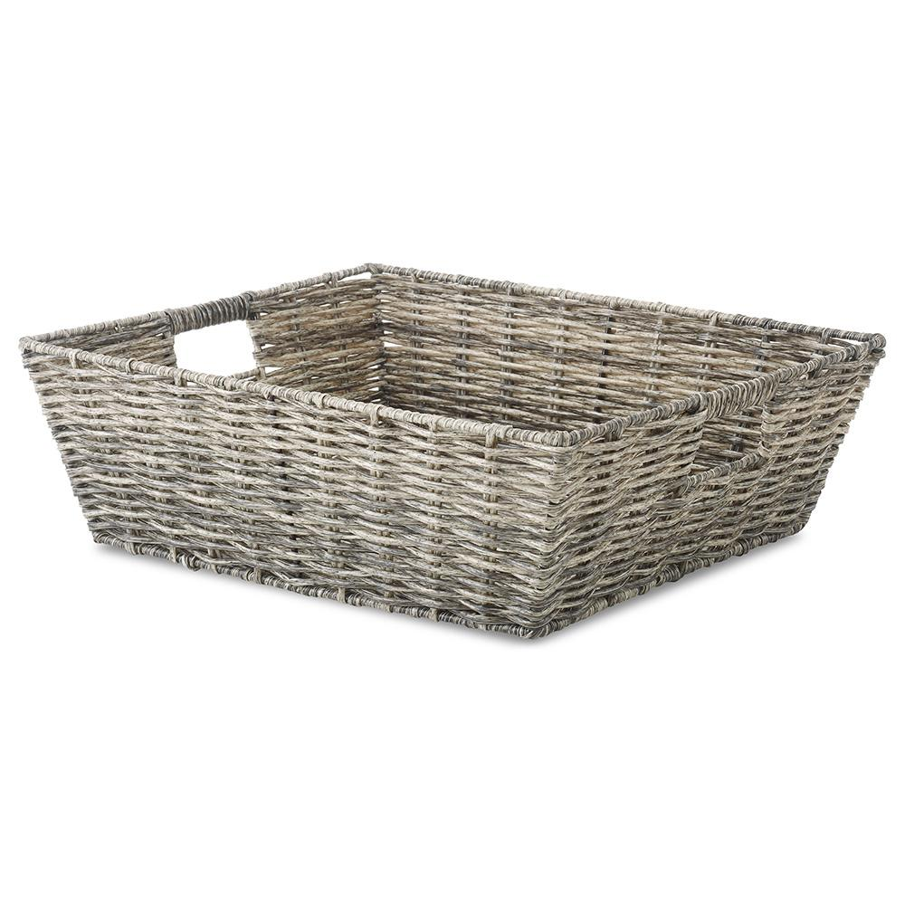 Whitmor 13 in. x 5 in. Rattique Tote Basket  sc 1 st  Home Depot & Whitmor 13 in. x 5 in. Rattique Tote Basket-6319-2711-BROWN - The ...