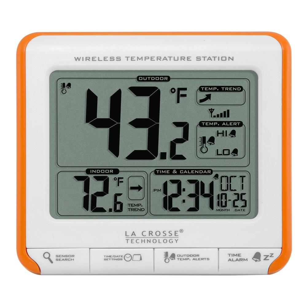 La Crosse Technology Wireless Temperature Station with Trends and Alerts Wireless technology with orange frame case to monitor temperatures. Display outdoor temperature values, down to -40°F, inside with weather resistant transmitter. Set outdoor temp alerts for when weather turns too hot or too cold. 12 or 24 hour time with alarm. Calendar display.