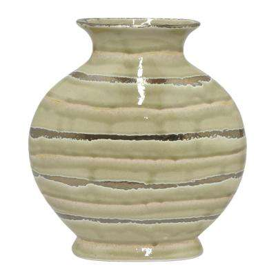 Decorative Gold and Ivory Ceramic Decorative Vase with Glossy Finish