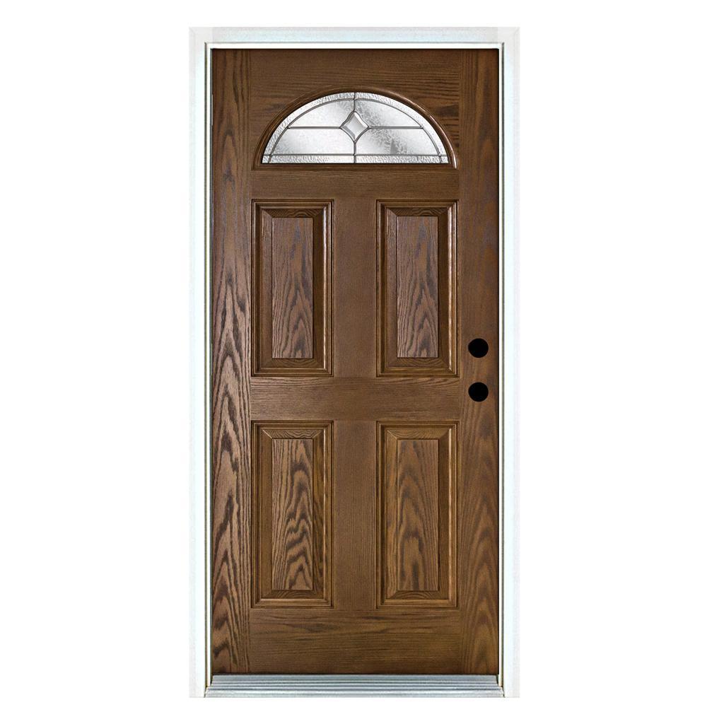 Mp Doors 36 In X 80 In Valentia Medium Oak Left Hand Inswing Fan