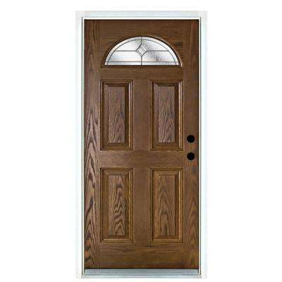 36 in. x 80 in. Valentia Medium Oak Left-Hand Inswing Fan Lite Decorative Fiberglass Prehung Front Door