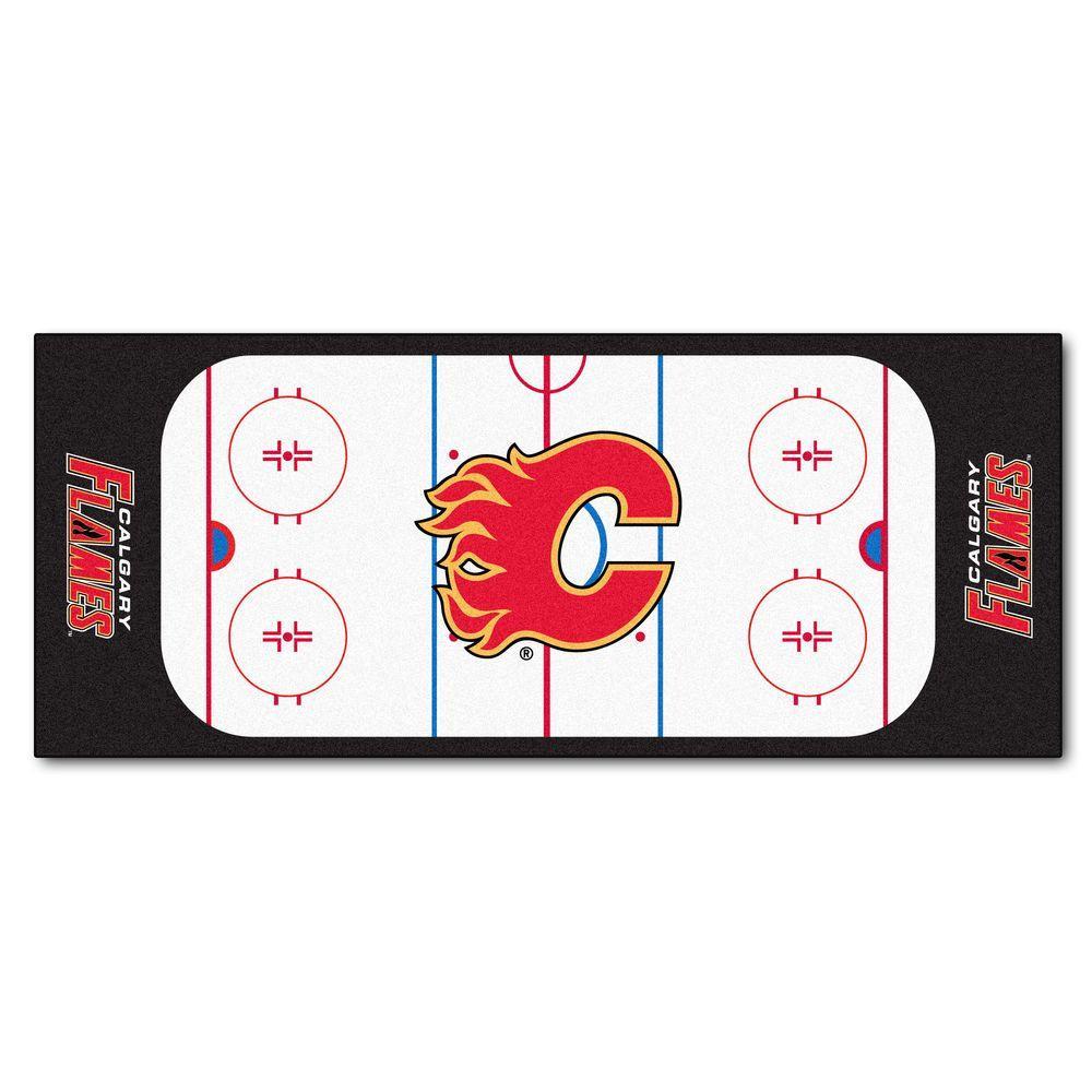 Calgary Flames 2 ft. 6 in. x 6 ft. Rink Rug Runner Rug, Team Colors