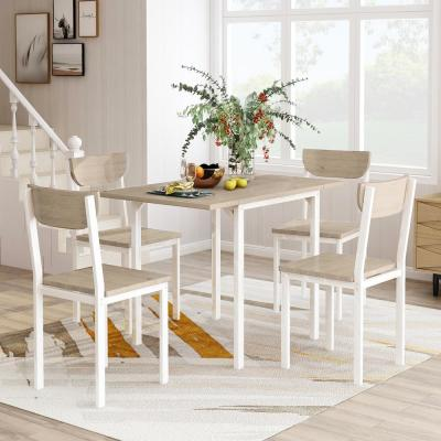 Light Gray 5-Piece Modern Metal Dining Set with 1-Drop Leaf Dining Table and 4-Chairs
