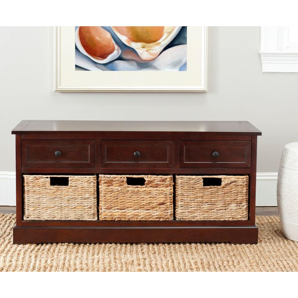 Genial Dark Cherry Pine Wood 3 Drawer
