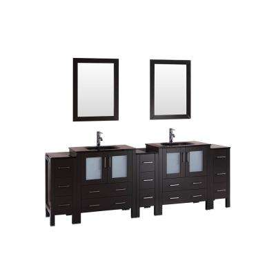 96 in. W Double Bath Vanity with Tempered Glass Vanity Top in Black with Black Basin and Mirror