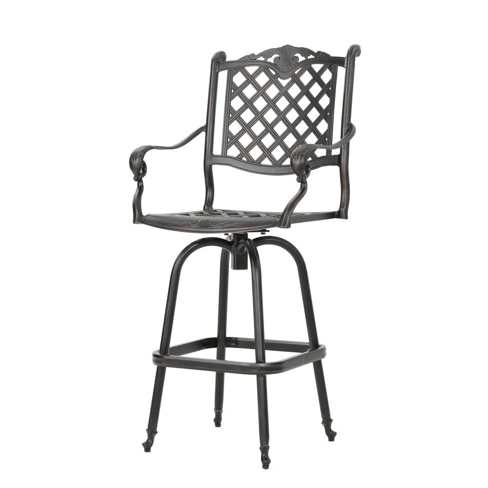 Awesome Noble House Nina Swivel Cast Aluminum Outdoor Bar Stool Andrewgaddart Wooden Chair Designs For Living Room Andrewgaddartcom