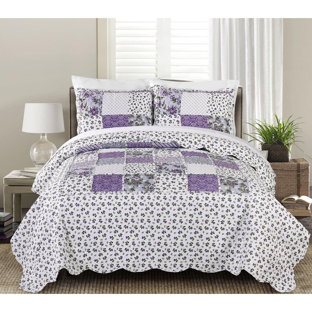 Beatrice 2-Piece Lavendar Twin Quilt Set, Purple