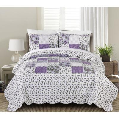 MHF Home Brenna 3-piece Twin Reversible Floral Patchwork Quilt Set