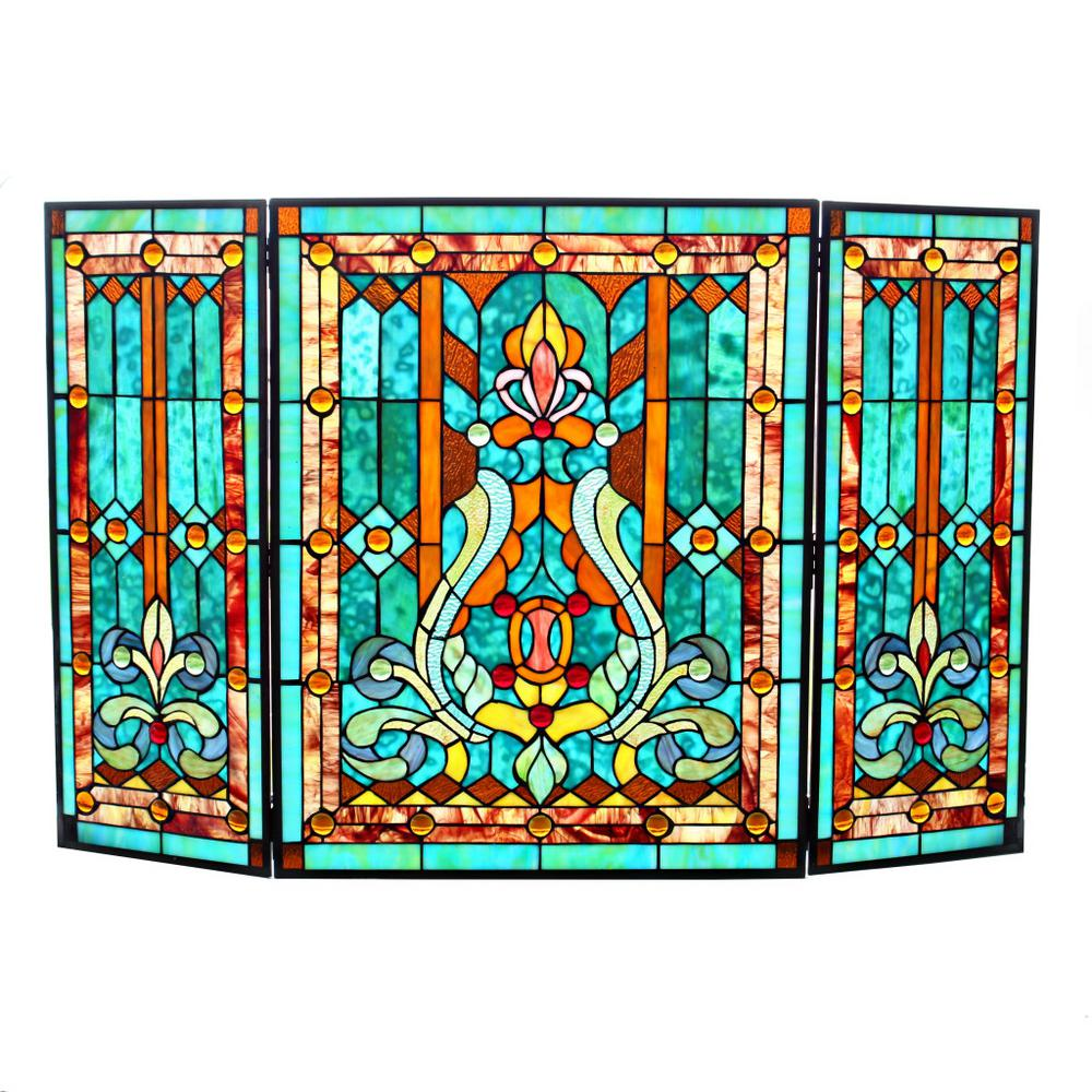 river of goods stained glass 3 panel fleur de lis decorative rh homedepot com stained glass fireplace screen uk stained glass fireplace screens sale