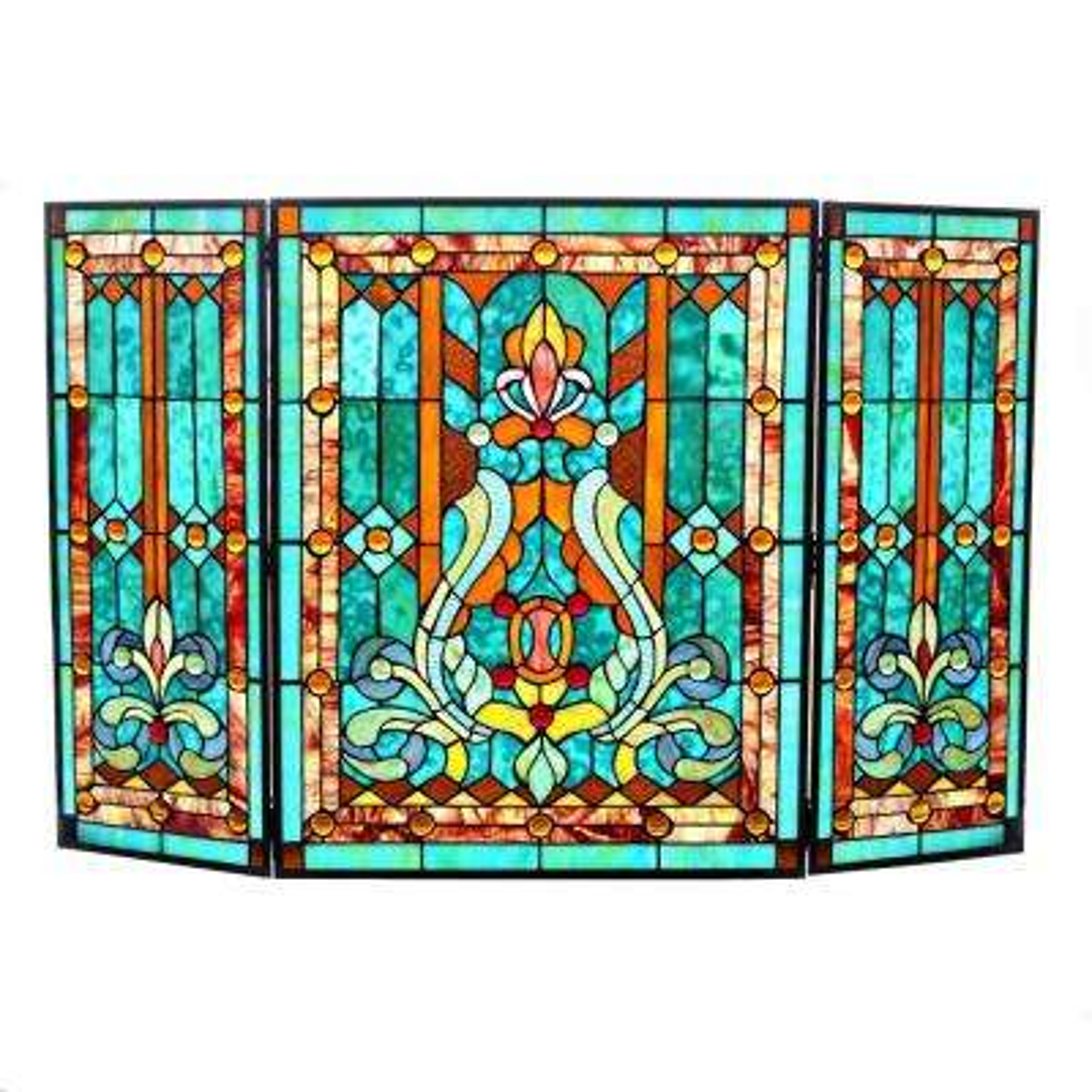 Stained Glass 3-Panel Fleur De Lis Decorative Fireplace Screen