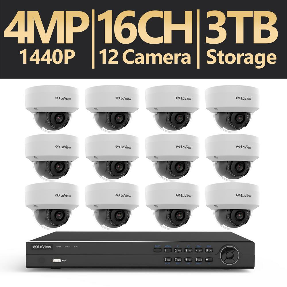 16-Channel 4MP 3TB IP NVR Surveillance System (12) 4MP Dome Cameras