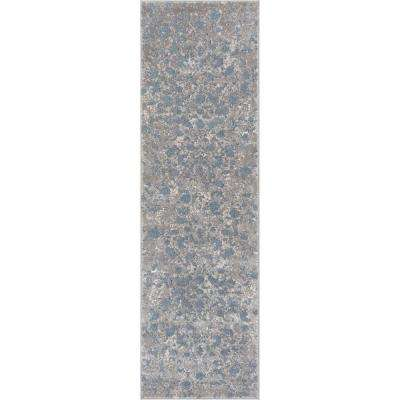Pearl Nora 2 ft. 3 in. x 7 ft. 3 in. Modern Abstract Vintage Distressed Soft Blue Runner Rug