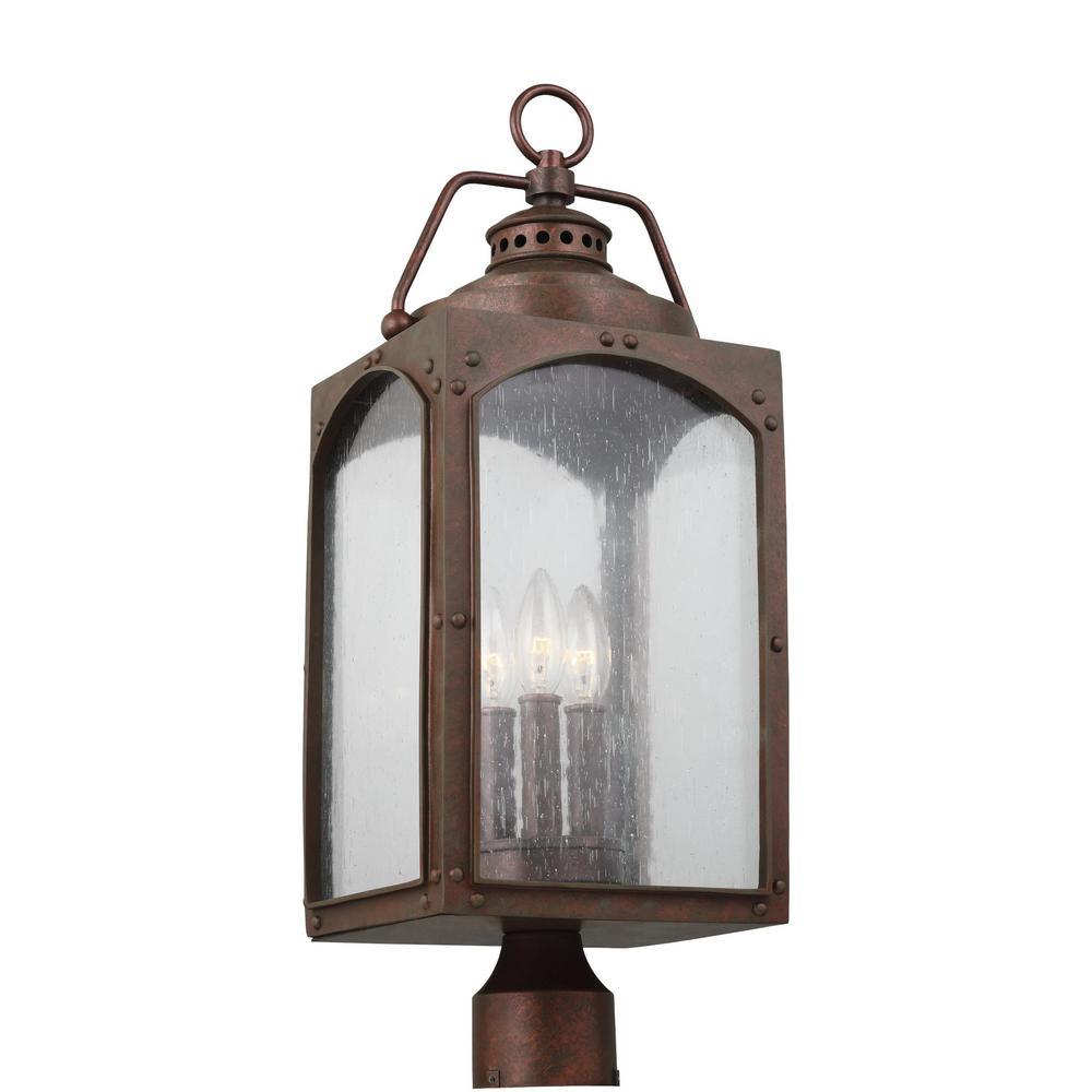 Randhurst 3-Light Outdoor Copper Oxide Post Light