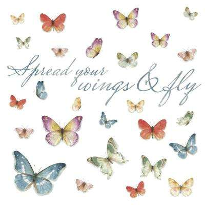 5 in. x 11.5 in. Lisa Audit Butterfly Quote 28-Piece Peel and Stick Wall Decals