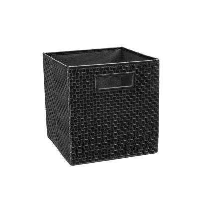 10.5 in. x 11 in. x 10.5 in. Black Faux Leather Cross Weave Storage Drawer