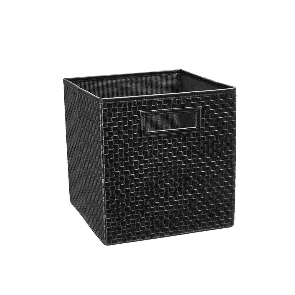 ClosetMaid 10.5 in. x 11 in. x 10.5 in. Black Faux Leather Cross Weave Storage Drawer