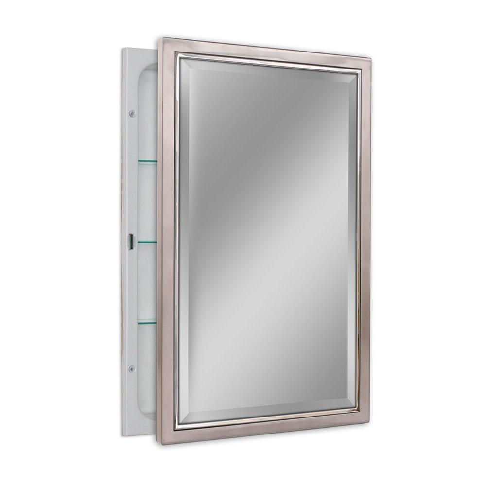 Good Deco Mirror 16 In. W X 26 In. H X 5 In. D Classic Framed Single Door  Recessed Bathroom Medicine Cabinet In Brush Nickel And Chrome 6299   The  Home Depot