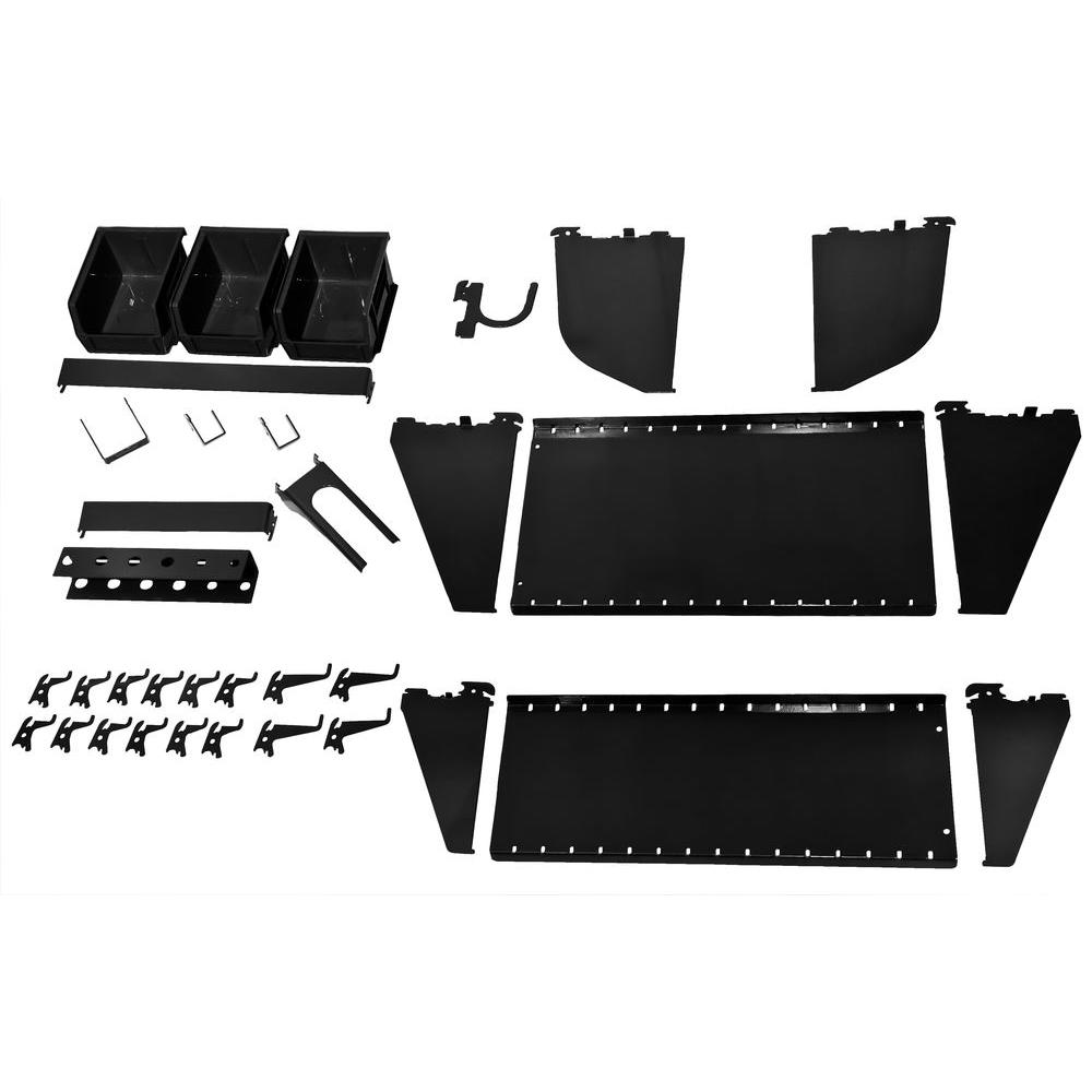Wall Control 1 in. Vertical Black Slotted Metal Pegboard Workstation Accessory Kit