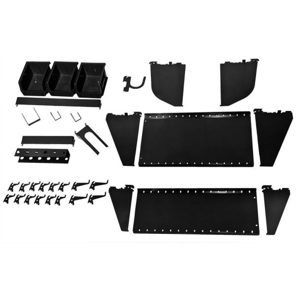 1 in. Vertical Black Slotted Metal Pegboard Workstation Accessory Kit