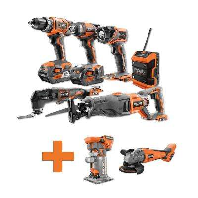 18-Volt Lithium-Ion Cordless Combo Kit (6-Tool) (2) 4Ah Batt and Charger w/Bonus Brushless Angle Grinder and Trim Router