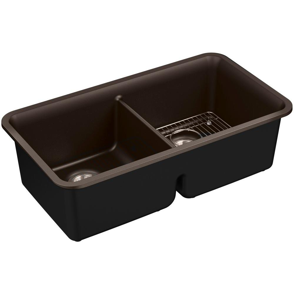 Cairn Undermount Neoroc 34 in. Double Bowl Kitchen Sink Kit in Matte Brown