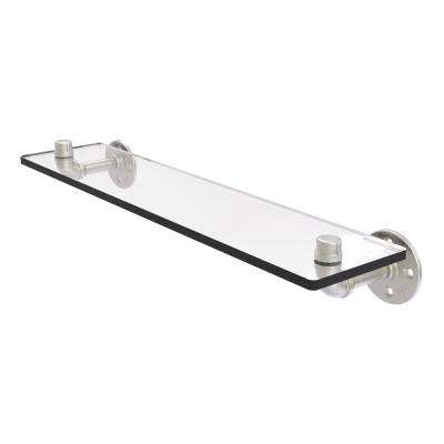 Pipeline Collection 22 in. Glass Shelf in Satin Nickel