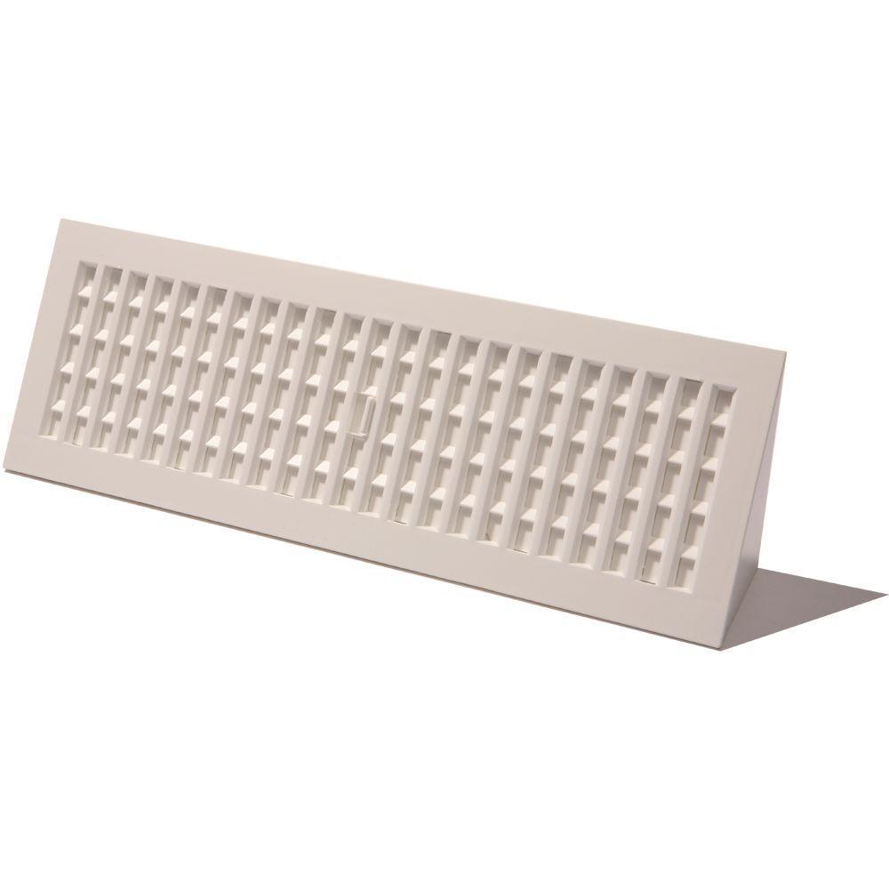3 in  x 18 in  Plastic Baseboard Register, White