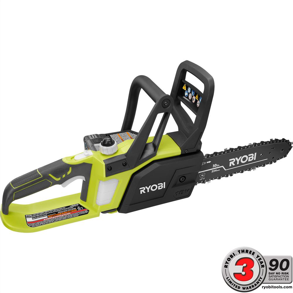 Ryobi one lithium 10 in 18 volt lithium ion cordless chainsaw ryobi one lithium 10 in 18 volt lithium ion cordless chainsaw 15 ah battery and charger included p547 the home depot greentooth Choice Image