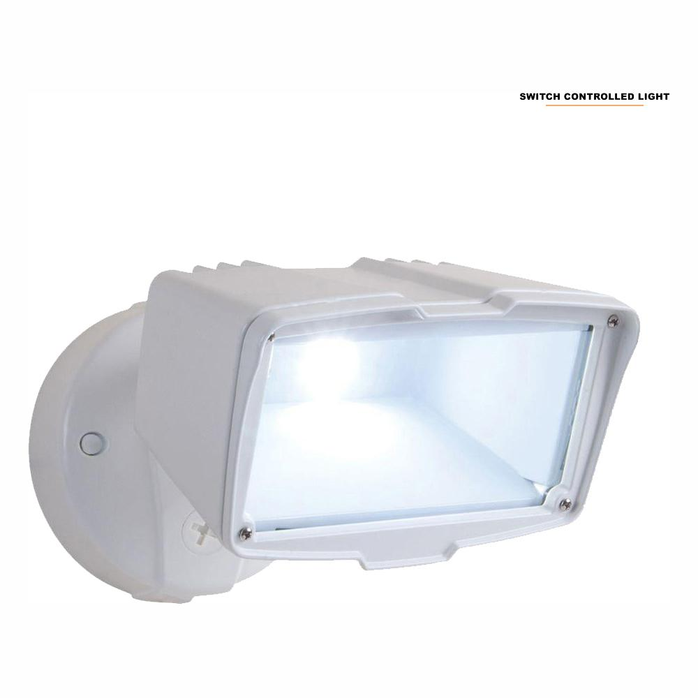All-Pro White Outdoor Integrated LED Large Single-Head Security Flood Light with 1900 Lumens and 5000K Daylight