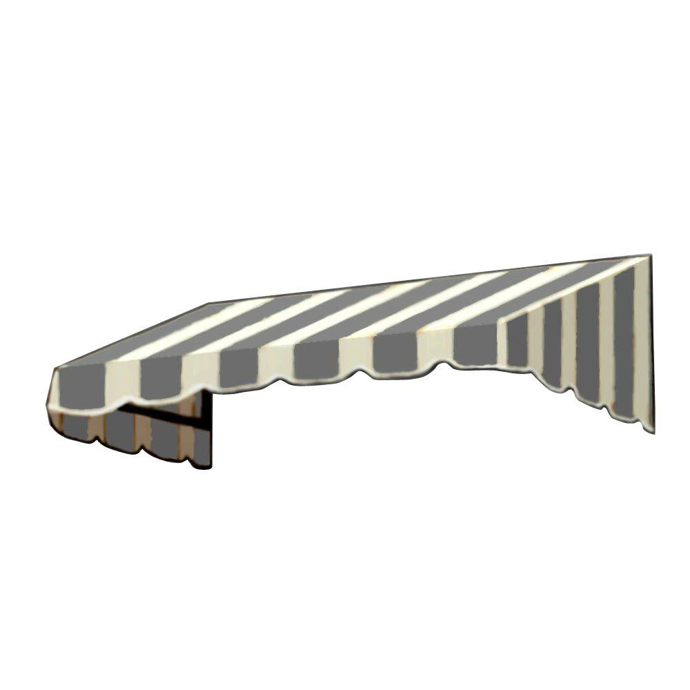 AWNTECH 4 ft. San Francisco Window/Entry Awning (24 in. H x 48 in. D) in Gray / White Stripe