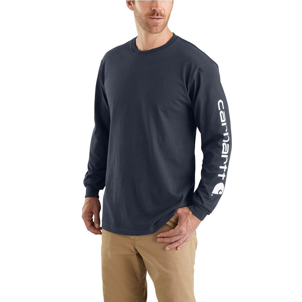 00d8d44b7e89 Carhartt Men's Regular XX Large Navy Cotton Long-Sleeve T-Shirt-K231-NVY -  The Home Depot