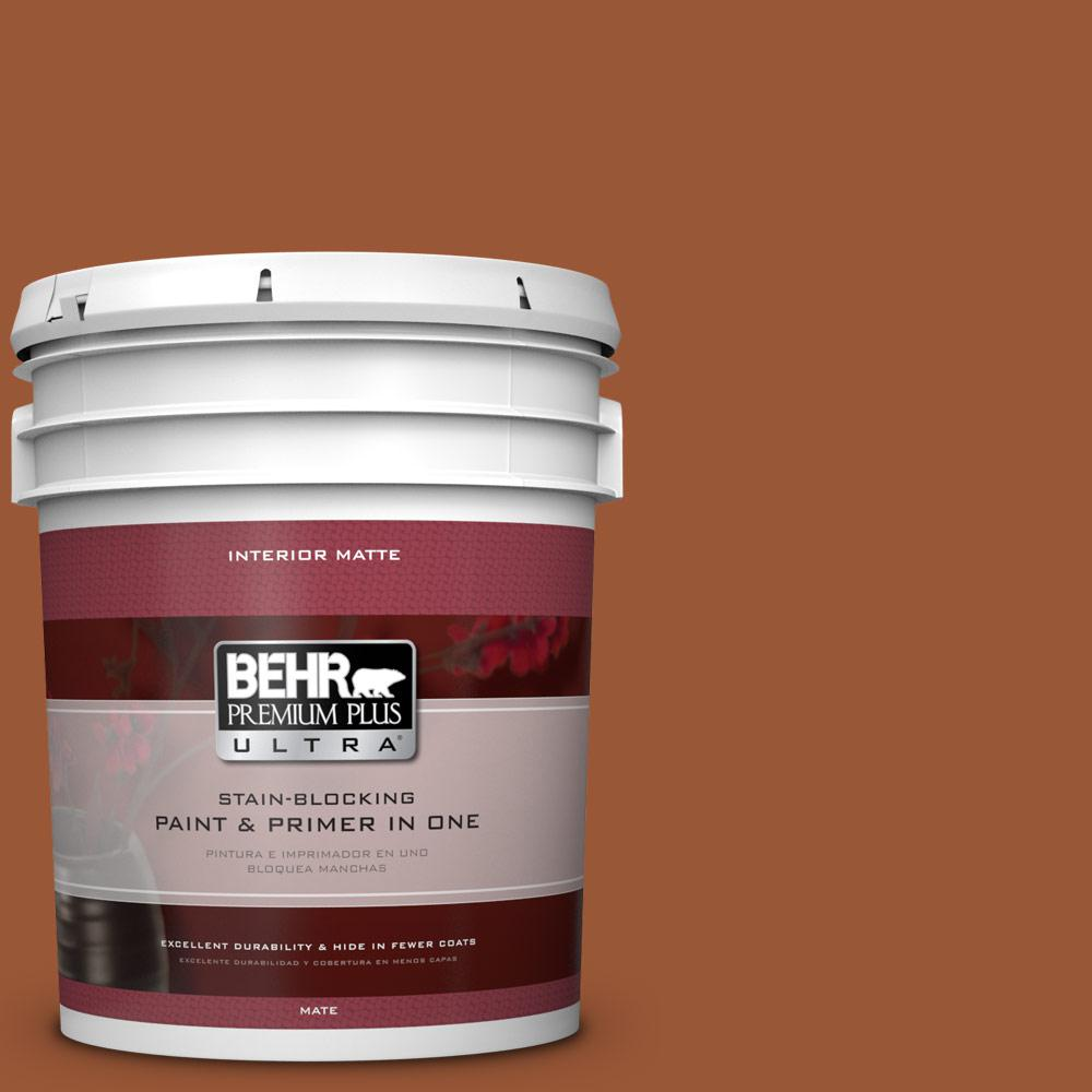 BEHR Premium Plus Ultra 5 gal. #230D-7 Cinnamon Brandy Flat/Matte Interior Paint