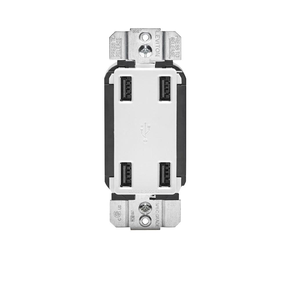 Leviton 4.2 Amp Decora 4-Port USB Charger Combo Outlet, White The Leviton USB4P offers 4 USB Charging Ports with a total of 4.2 Amp of charging power. This device has the ability to charge up to four devices, including multiple tablets simultaneously. The USB Ports are Type A, 2.0 and are controlled by a microprocessor and smart chip that recognizes and optimizes the charging power of your device plugged in. This means you can spend less time charging your device and more time enjoying it. Our 4-Port USB Charger is ideal for charging tablets, smart and mobile phones, e-readers and much more. Color: White.