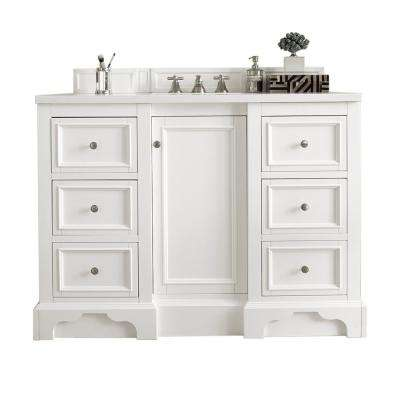 De Soto 48 in. W Single Vanity in Bright White with Marble Vanity Top in Carrara White with White Basin